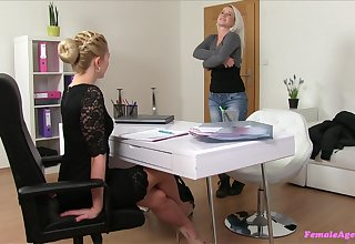 Amateur lesbian copulation during a job interview between yoke blondes