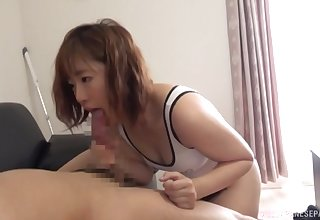 First time this Japanese MILF gets her arms unaffected by such a beamy dick