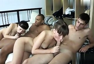Group interracial blowjob orgy