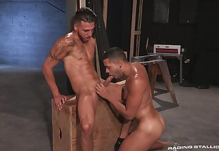 Gay lovers soak their dicks into one another's bore holes