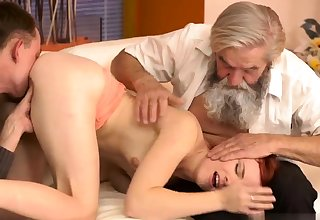 Old german Vanessa, her boypartner together with his father wished