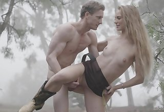 Atrophied blonde uses the woods to fulfill her sexual fantasies