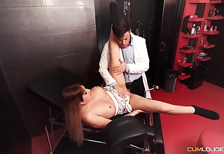 Duteous darling gets fucked in a Master's well-appointed dungeon