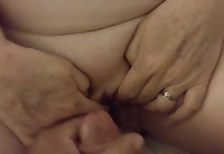 This BBW slut loves levelly when I tickle her shaved pussy with my cock