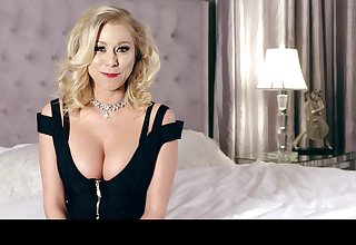 Sexy cleverage of busty blonde MILF Katie Morgan at near her interview